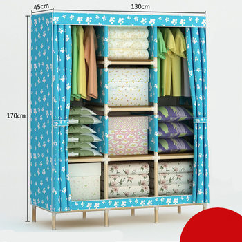 Solid wood Oxford Cloth Large Reinforcement Assembly Folding Wardrobe Closet Storage