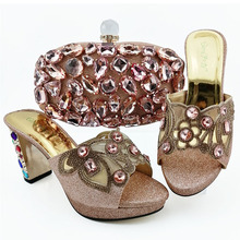New Fashion Peach Color Woman Sandals Shoes And Bag Set Italian Style Woman Shoes And Matching Purse Set For Party new gold office shoe and bag set women shoes and bag set in italy design italian shoes with matching bag set wedding dress shoes