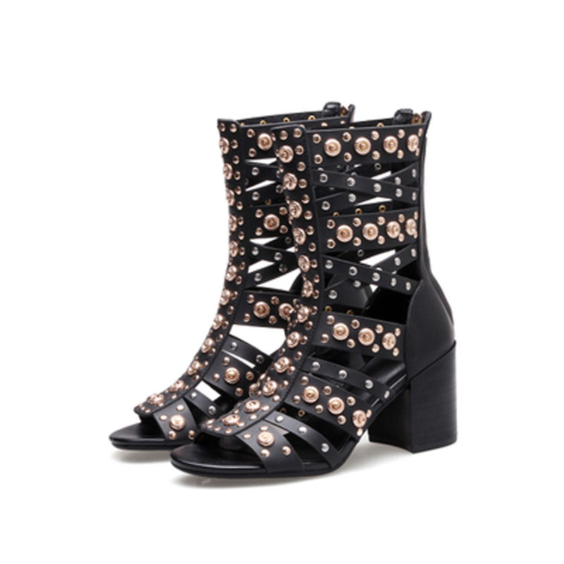 New Girl's Punk Metal Gold Rivets Leather Straps Women Ankle Boots Sexy Open toe Ladies Chunky High Heel zipper Sandals Boots цены