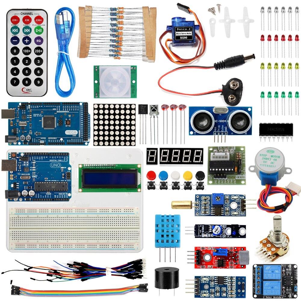 Kit de démarrage pour Arduino UNO R3 & Mega2560 carte pour LED 1602 LCD Module de capteur de relais de servomoteur Module d'apprentissage de base/câble USB