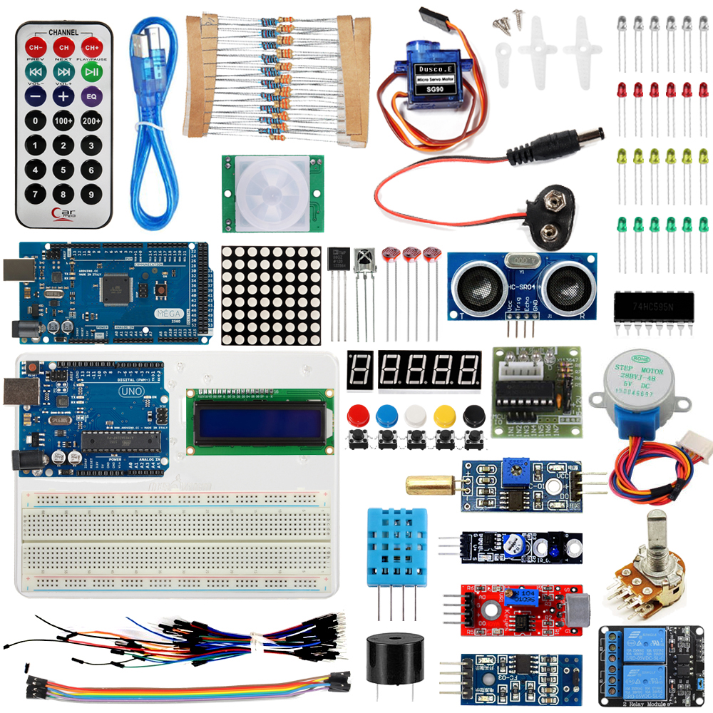 Starter Kit For <font><b>Arduino</b></font> UNO R3 &Mega2560 Board for <font><b>LED</b></font> 1602 LCD Servo Motor Relay Sensor Module Learning Basic Suite /USB Cable image