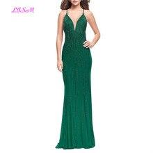 Luxury Green V-Neck Mermaid Evening Dress Long Beadings Gowns High Quality Sweep Train Prom Dresses Vestido de festa