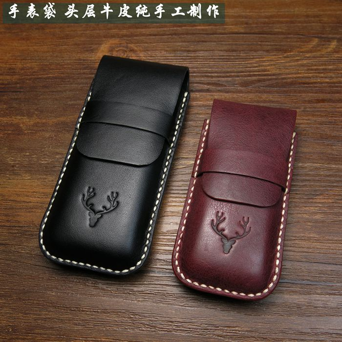 Quanlity Leather Watch Bag Black Watch Protect Storage Bag Travel Watch Gift Box Fashion Brown Box Can Customize LOGO C032 kz headset storage box suitable for original headphones as gift to the customer