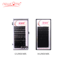 NEWCOME 12/16 Lines 3D Individual Eyelashes Curl Length 8-15mm Mixed In One Tray Eyelash Extensions Natural korean Eye Lashes