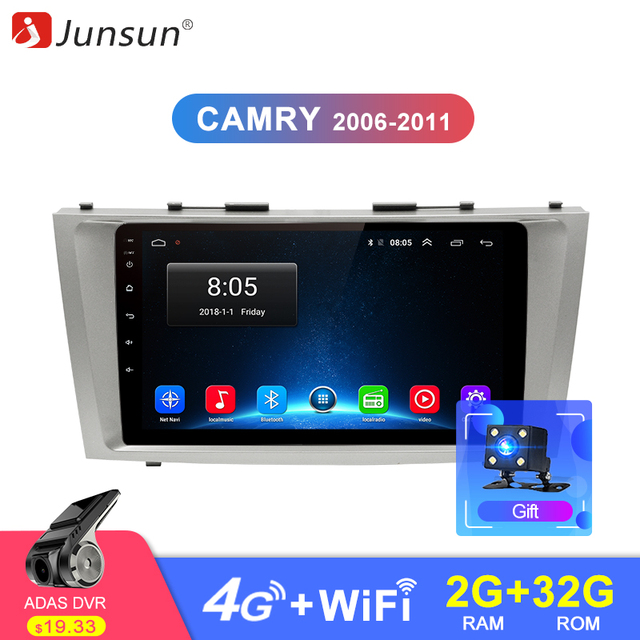 Junsun 2G + 32G Android 8,1 Автомобильный Радио Мультимедиа Видео плеер навигация gps 2 din для Toyota Camry 40 50 2007 2008 без dvd 2 дин магнитола андроид навигатором Штатное Головное для Тойота Камри 2006-2011