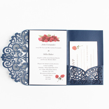 Elegant pocket three fold invitation navy blue laser cutting customized printing wedding business invitation card free ship