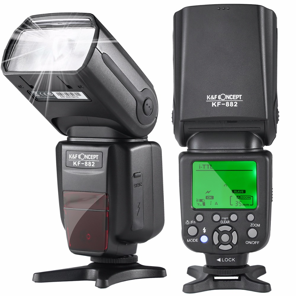 K&F CONCEPT KF882 Wireless Flash Speedlite TTL HSS High Speed Sync 1/8000s Master Slave GN58 for Nikon Canon DSLR Camera nicefoto ttl 680c 600w ttl 2 4g wireless gn68 hss 1 8000s studio flash high speed speedlite with transmitter for canon camera