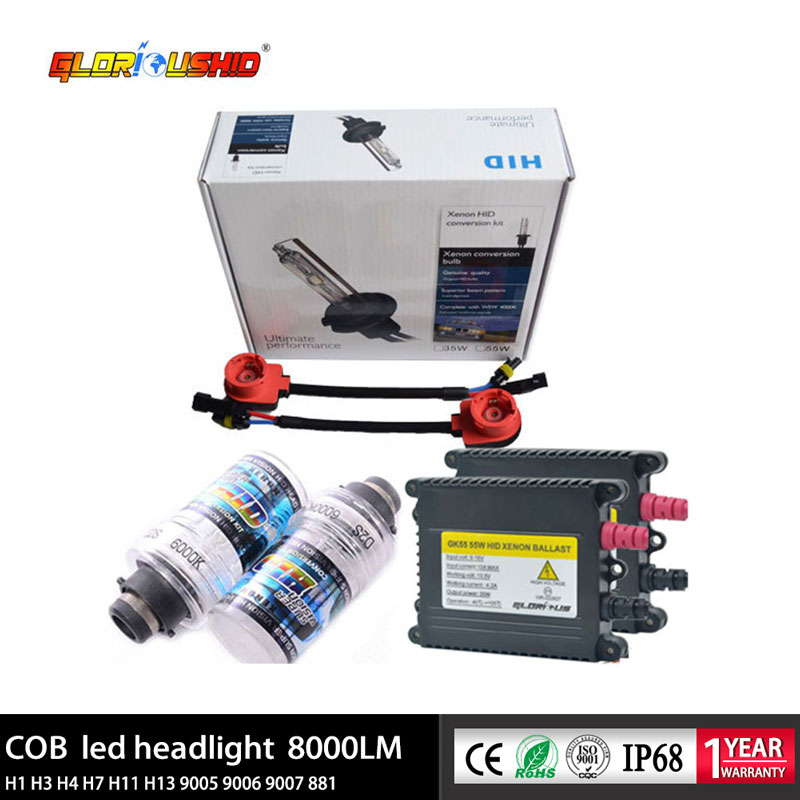 D2S Xenon Hid Kit AC 55W 4300K 5000K 6000K 8000K HID Ballast Xenon Bulb For Car Headlight 12V Car Light Source go-kart