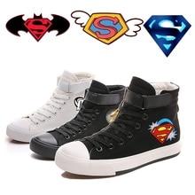 Printing Cool Cartoon Superman Batman logo Canvas Shoes High-top Flat Casual Mens Fashion Students shoes