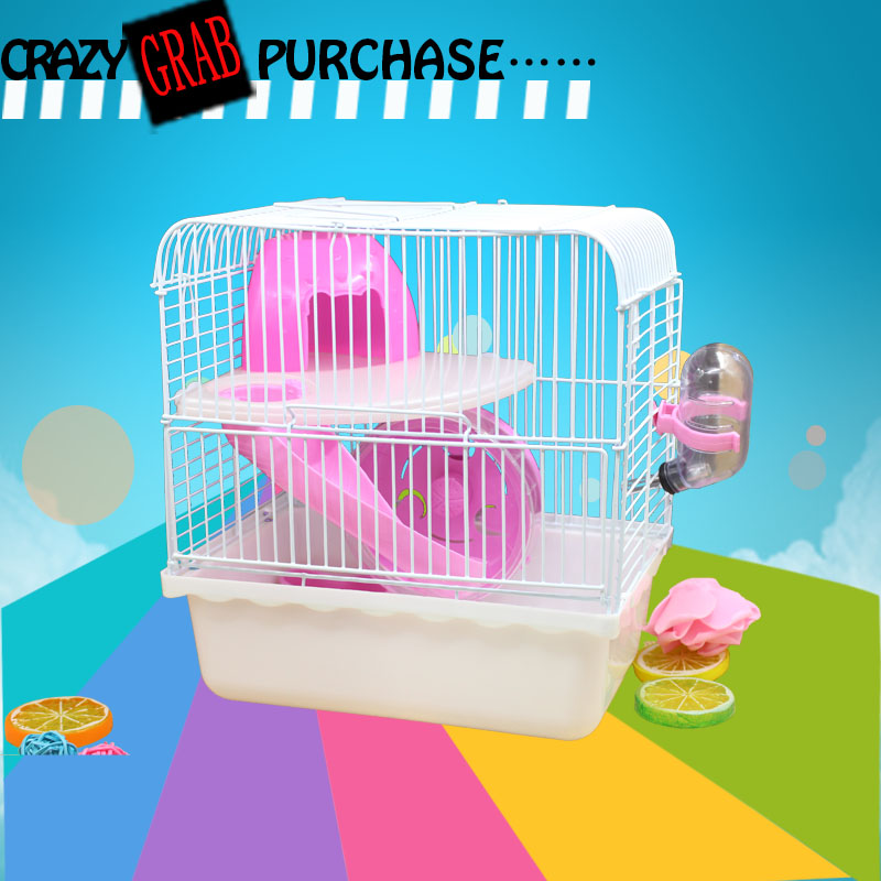 Jaula Conejo Rushed Iron Juguetes 2017 New Free Transportation Hamster Cage The Princess Transparent Portable For Pet supplies
