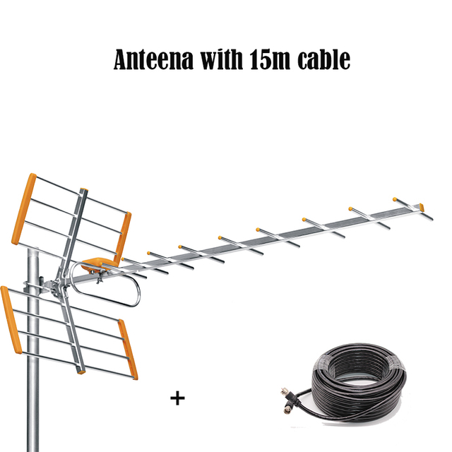Antena Digital HD para TV al aire libre, con Cable de 15m para DVBT2, HDTV, ISDBT, ATSC, señal de alta ganancia, antena de TV al aire libre