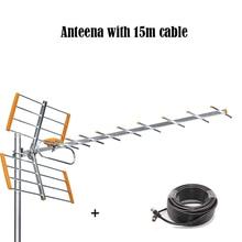 Цифровая наружная ТВ антенна HD с кабелем 15 м для DVBT2 HD TV ISDBT ATSC с высоким коэффициентом усиления, наружная ТВ антенна