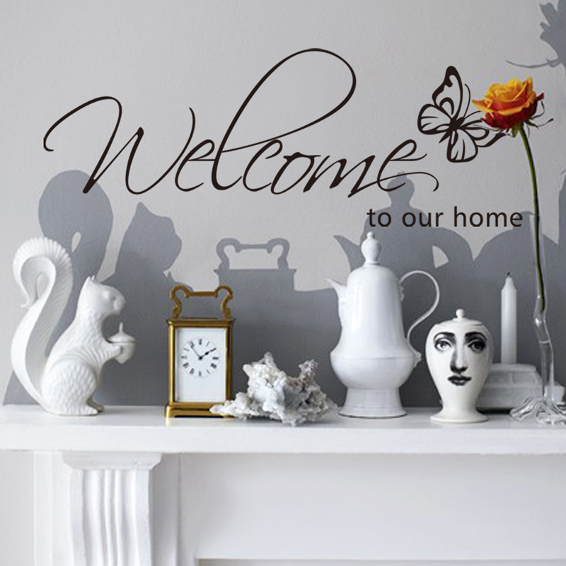 'Welcome To Our Home' Text Patterns wall sticker home decor living room Decals wallpaper bedroom Decorative butterfly Stickers