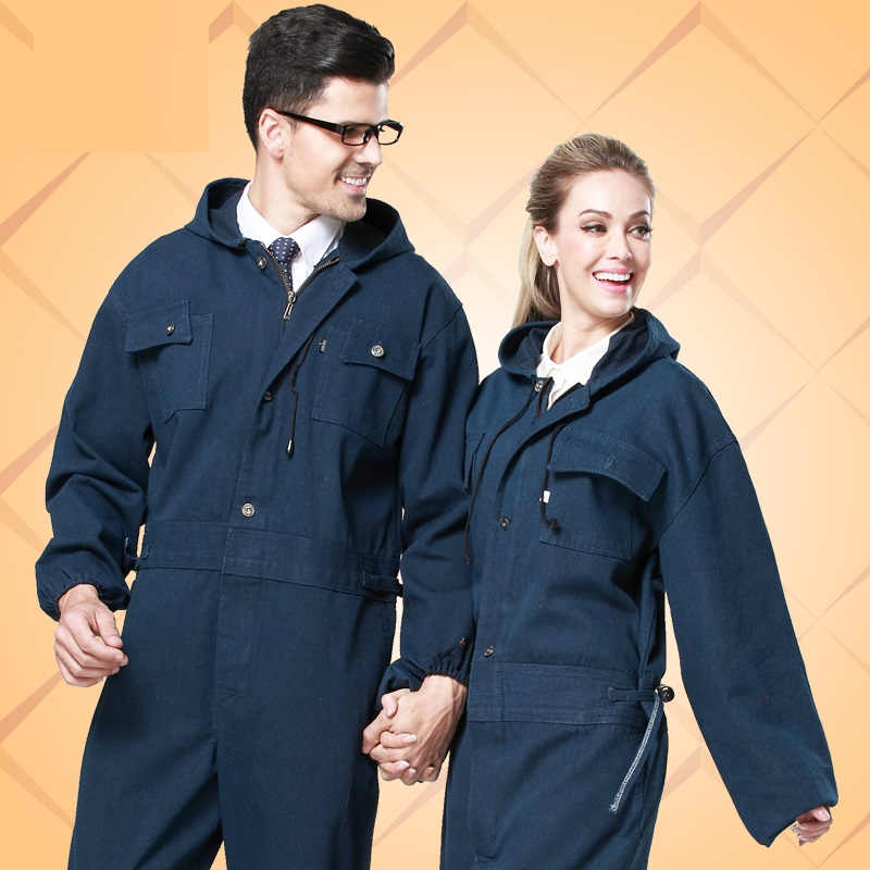 10  Wear-resistant One Piece Denim Work Wear Painted Protective Clothing Male Long-sleeve Tooling Bunny Suit Set Worker Suits