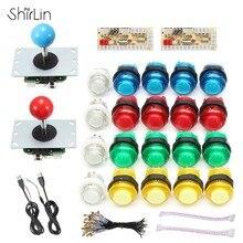 Kits de Arcade con joystick para videojuegos, juego de cables piezas de juego de salón recreativo jugadores con 20 botones LED + 2 controladores + 2 kit decodificador USB