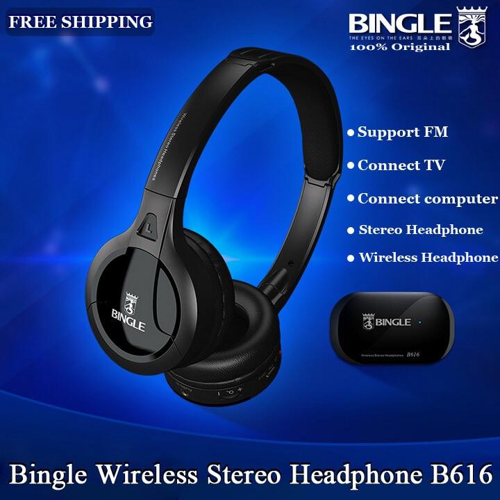 Originele Bingle B616 Multifunctionele stereo Draadloze Headset Hoofdtelefoon met Microfoon FM Radio voor MP3 PC TV Audio Telefoons