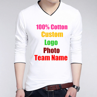 Long Sleeve V Neck Spring Autum Men T shirt Cotton Custom Make Text Photo Logo Printed Man T shirts Tops Male Boy Rock T shirt