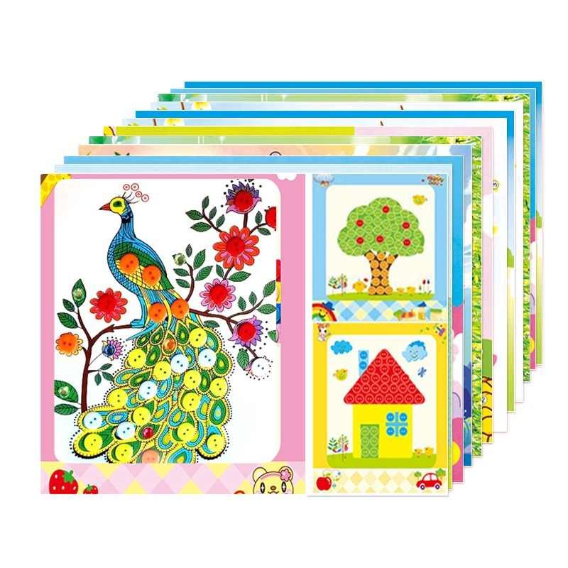 12pcs/lot button painting children Handmade package stickers children 3-6 years old baby DIY stickers BW017