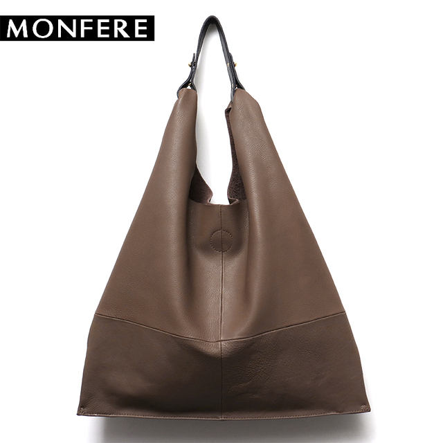 Monfere Casual Women Hobo Bag Soft Genuine Cow Leather Fashion Shoulder Bags Female Large Tote Bucket