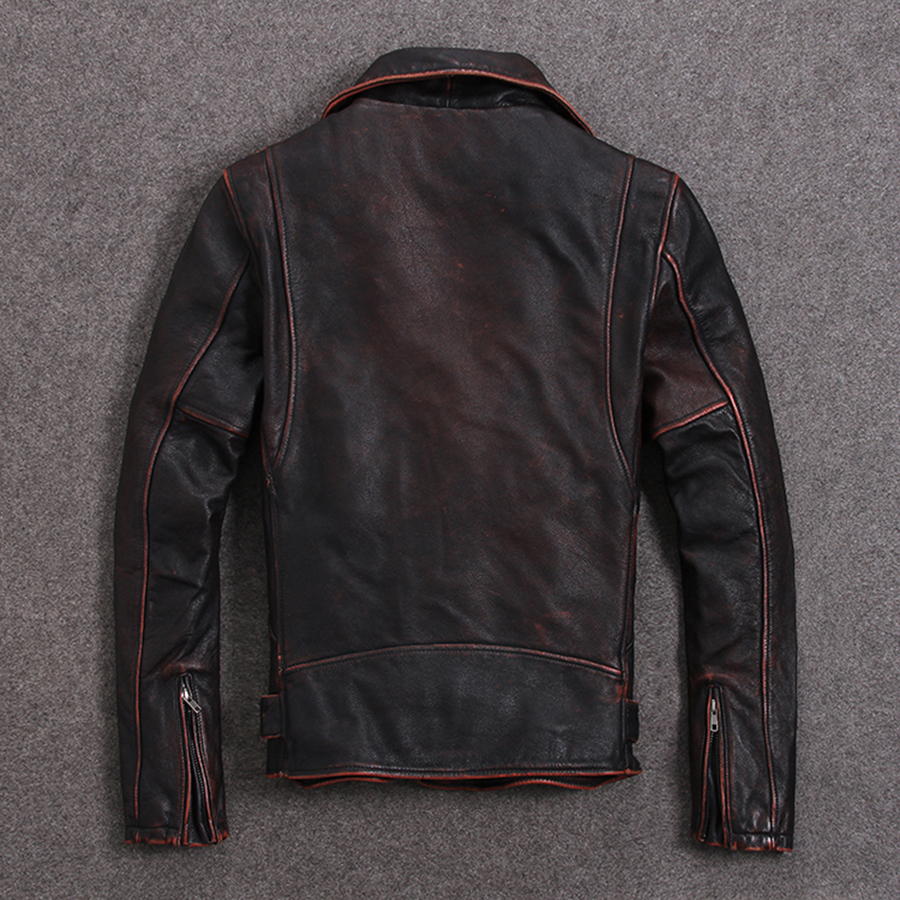 Image 3 - HARLEY DAMSON Vintage Brown Men Slim Fit Biker's Leather Jacket Plus Size XXXXXL Genuine Cowhide Short Motorcycle Leather Coat-in Genuine Leather Coats from Men's Clothing