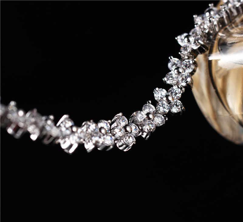 Bijoux Zircon cristal fleur bracelet à breloques pour femmes fête de mariage classique plaque d'or Bracelets Bracelets accessoire