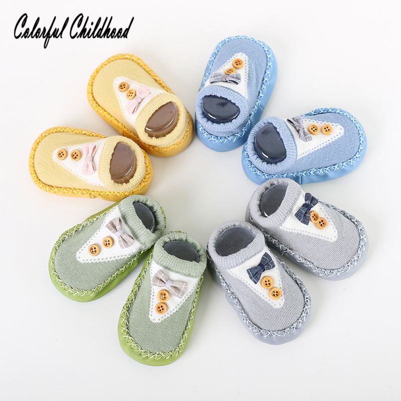 Fashion Bow Baby Socks With Rubber Soles Infant Sock Newborn Autumn Winter Toddler Floor Socks Shoes Anti Slip Soft Sole Sock