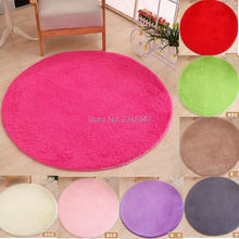 Soft Fluffy Round Custom Made size Carpet Play Mat Living Room Decorative Blanket Rug Solid Color White Beige Pink Coffee Green