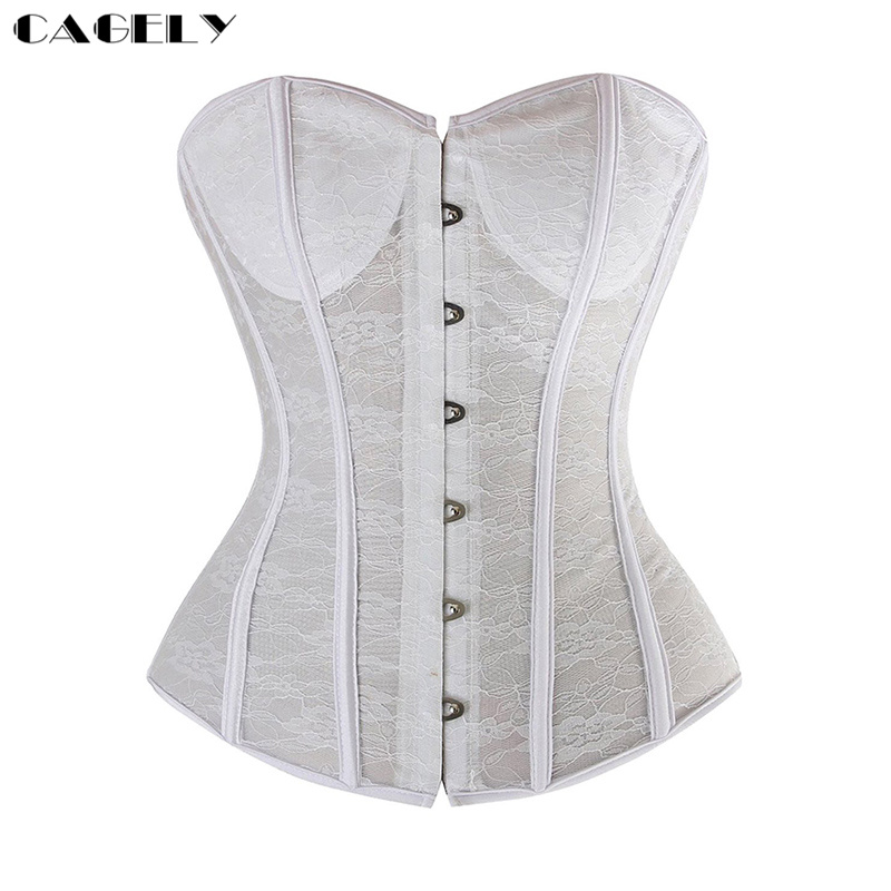 ff3d5330375 Lace Corset Sexy Bustier Wedding Corselet Summer Underwear Clothing Black  White Lingerie G-string Slimming
