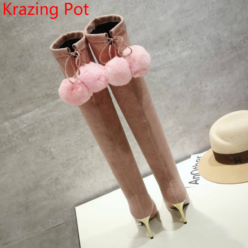 2018 New Arrival Flannel Fur Pointed Toe Superstar Stiletto High Heels Thigh High Boots Pink Over-the-knee Boots for Women L62 new arrival high quality over the knee women boots sexy pointed toe shoes stiletto high heels blue denim jeans women boots