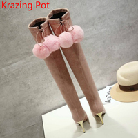 2018 New Arrival Flannel Fur Pointed Toe Superstar Stiletto High Heels Thigh High Boots Pink Over
