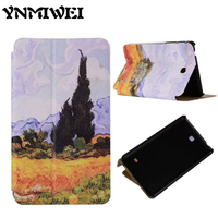 PU Leather Case For Samsung Galaxy Tab 4 T230 Fashion 7'' Anti-dust Flip Colorful Print Tablet Stand Case Protective Smart Cover