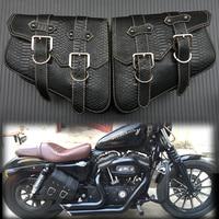 2X Motorcycle Saddle bags PU Leather Swingarm Bag Motorcycle SaddleBags Side Tool Bags Storage For Harley Sportster 883 1200XL
