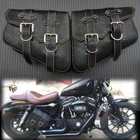 2X Motorcycle Saddle bags PU Leather Swingarm Bag Motorcycle SaddleBags Side Tool Bags Storage For Harley Sportster 883 1200XL