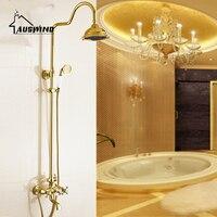 ערכות מקלחת אירופאי זהב עתיק נחושת מלוטש מקלחת ברזי מקלחת חם וקר תיקון קיר הר ערכת מקלחת חדר רחצה ge5