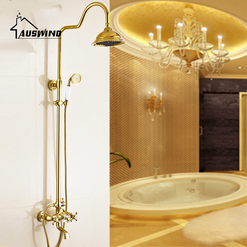 European Golden Shower Sets Antique Copper Polished Hot And Cold Shower Faucets Shower Fixing Wall Mount Bathroom Shower Set ge5