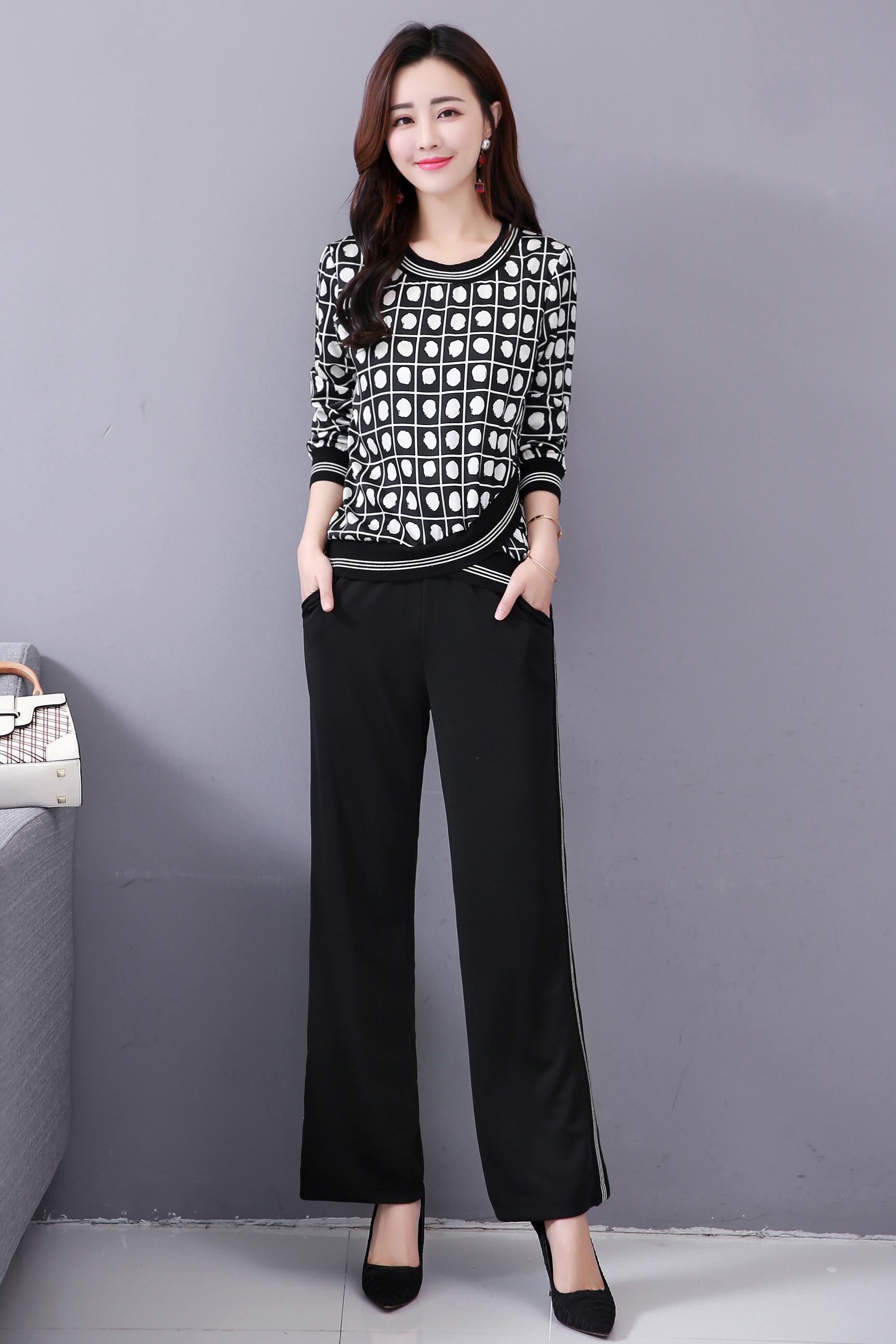 M-5x Autumn Black Printed Two Piece Sets Women Plus Size Long Sleeve Tops And Pants Suits Korean Elegant Office 2 Piece Sets 32