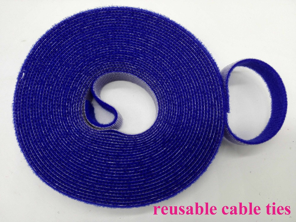 2 rolls blue 15mm*5M Reusable Nylon Cable Tie Strap Stick Ties Computer PC TV Wire cable Management magic tape tie wraps