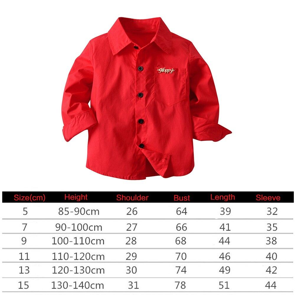 Angemessen Rot Kinder Jungen Frühling Langarm Knöpft Manschetten Hemd Bluse Top Mit Tasche