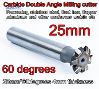 25mm * 60 graden 4mm dikte Carbide Dubbele Hoek frees Verwerking, rvs, gietijzer, koper, aluminium, etc