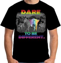 Velocitee Mens Dare To Be Different T Shirt Rainbow Zebra Geek Individual T-Shirt 2017 Fashion Men Top Tee Simple