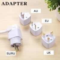 Universal UK AU to EU RU Power Socket Plug Travel Charger Adapter Converter WHITE EU RU Security Adapter
