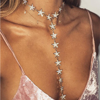 Star Body Chain Women Summer Body Chains Metal Choker Statement Necklace 2017 Luxury Maxi Necklace Women