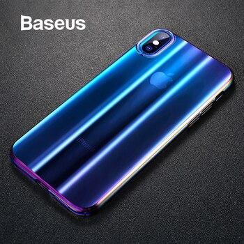 Baseus de lujo Aurora caso para iPhone Xs Max XR 2018 gradiente de estuche de plástico duro para iPhone Xs de vuelta cubierta del teléfono
