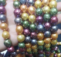 Genuine AAA Natural Pearl 10X12mm Colorful baroque freshwater pearl loose beads DIY gift one strands Hole Approx 1mm