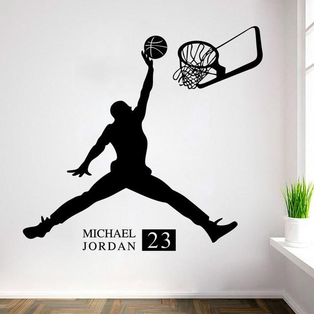 Michael Jordan Play Basketball Wall Stickers Home Decors Basketball ...