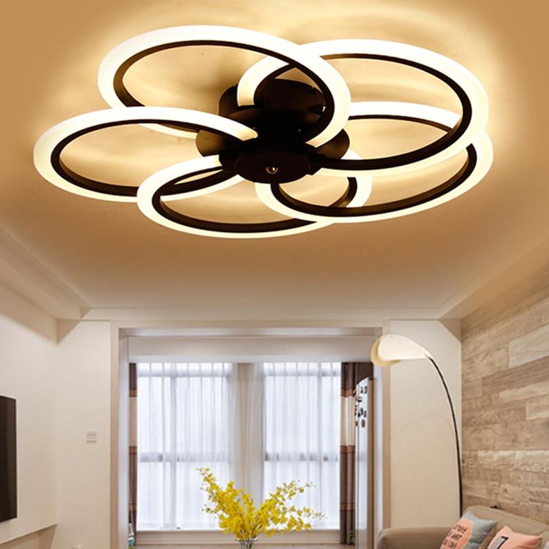 US $117.3 31% OFF|Neue Moderne Led deckenleuchte Wohnzimmer Schlafzimmer  Weiß Schwarz Aluminium Runde Led deckenleuchte lamparas de techo-in ...