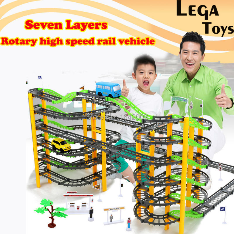 Seven layer rotary High speed Electric Rail Car Spiral Track Roller Coaster DIY model slot Building set 155 PCS for Kids Gift
