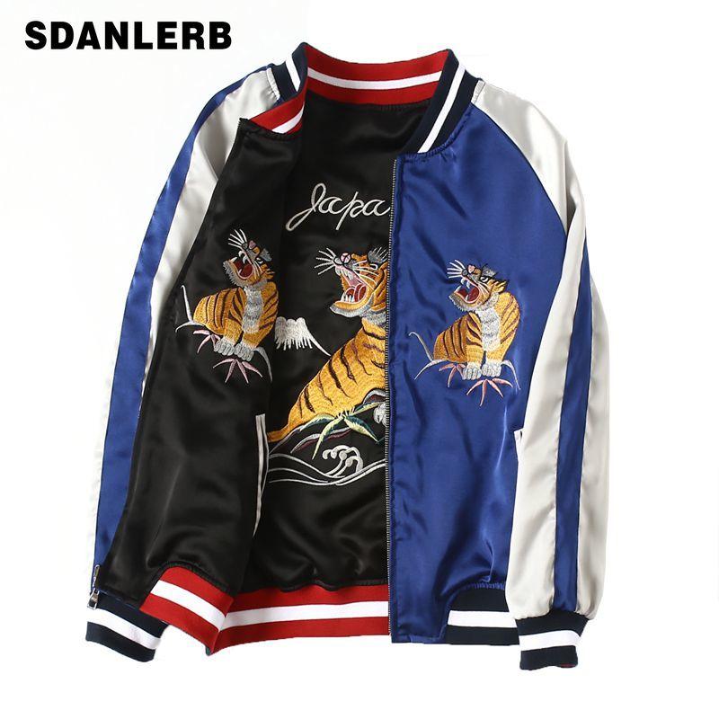 La veste de broderie de tigre de fairy suka les femmes et les hommes des deux côtés portent la veste de bombardier à manches longues du Couple lâche des tenues de base de manteaux