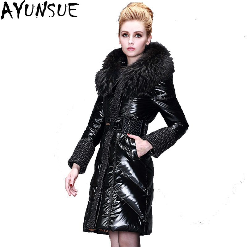 2b09580a71e Women Winter Leather Jacket Long Parka Fur Collar Plus Size 5XL Winter  Leather Coat Women Adjustable ...