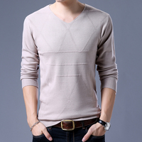Casual V neck Sweater Men 2018 autumn New pullover Slim Fit Thin Mens Sweaters Male High Quality Plus Size M 3XL